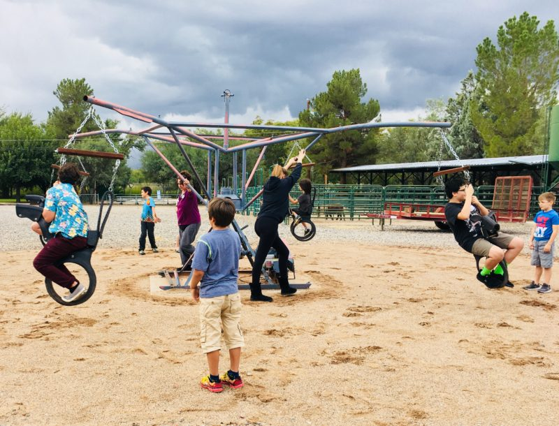 Campers playing on carousel